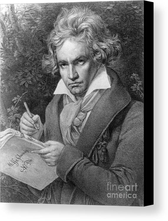 Portrait Canvas Print featuring the drawing Ludwig Van Beethoven by Joseph Carl Stieler