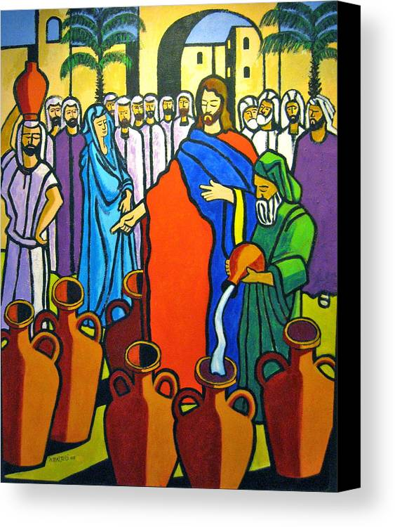 Religious Canvas Print featuring the painting Miracle At Cana by Nicholas Martori