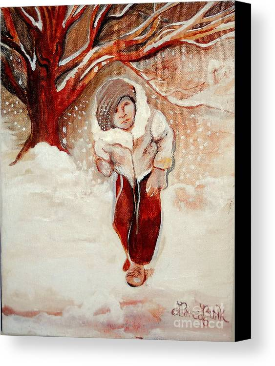 Snow Canvas Print featuring the painting Na'alies' Snowstorm by Patricia Bunk