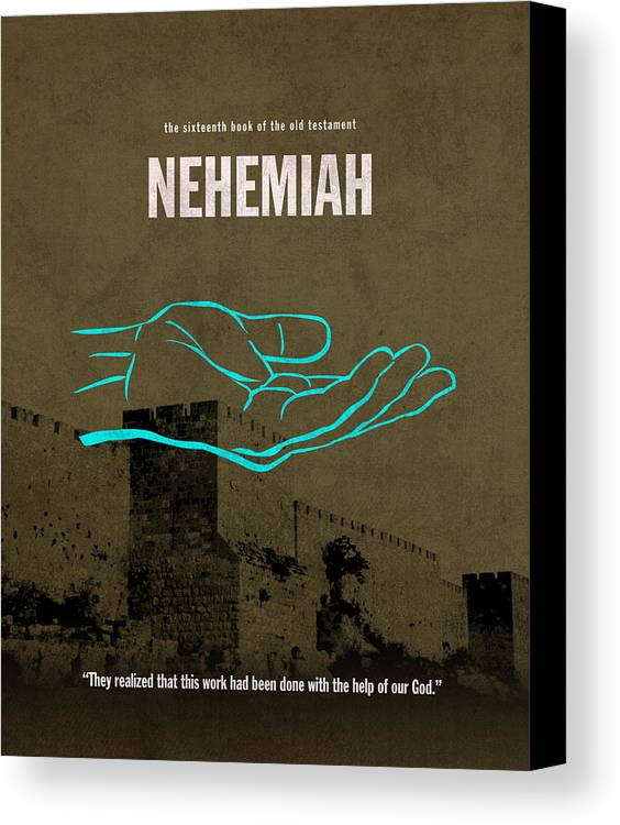 Nehemiah Canvas Print featuring the mixed media Nehemiah Books Of The Bible Series Old Testament Minimal Poster Art Number 16 by Design Turnpike