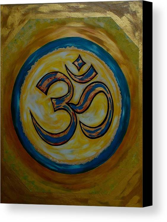 Om Series Canvas Print featuring the painting Om 4 by Madhusudan Kawa