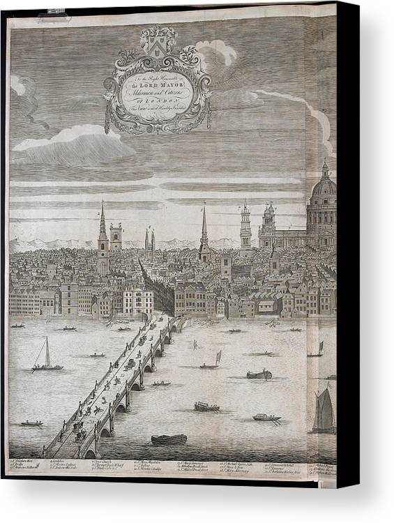 18th Century Canvas Print featuring the photograph Panorama Of London by British Library