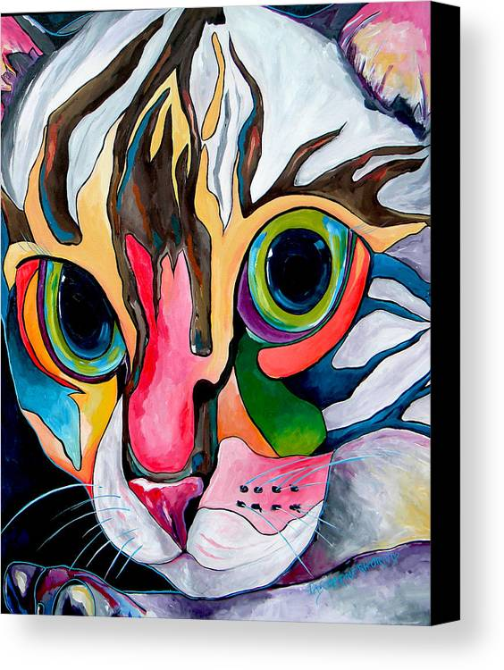 Cat Canvas Print featuring the painting Phoebe Blu by Patti Schermerhorn