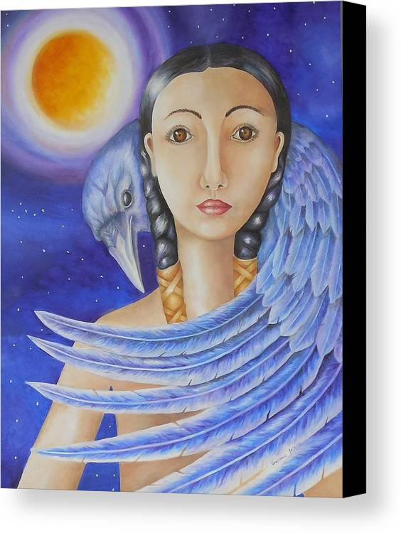 Raven Canvas Print featuring the painting Raven Spirit by Golanv Waya
