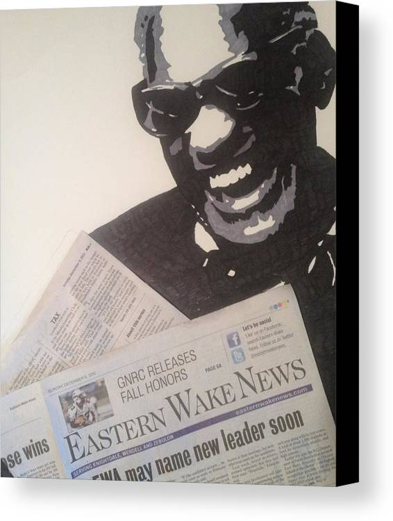 Ray Charles Reading Canvas Print featuring the drawing Ray Charles Reading by Brad Leach
