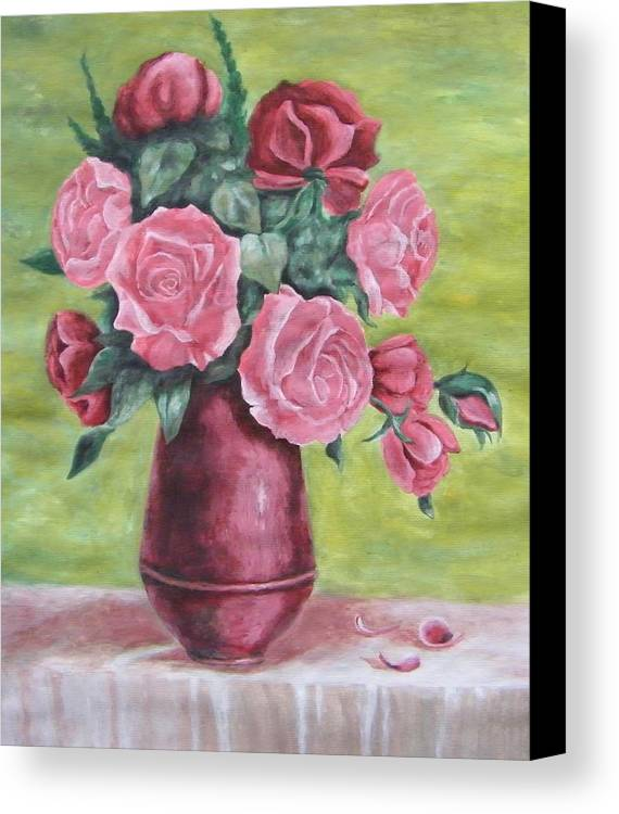 Roses Vase Acryl Flower Pink Canvas Print featuring the painting Roses In Vase by Vlatka Kelc