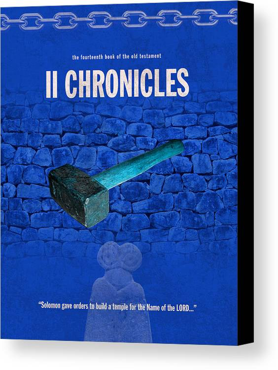 Second Canvas Print featuring the mixed media Second Chronicles Books Of The Bible Series Old Testament Minimal Poster Art Number 14 by Design Turnpike