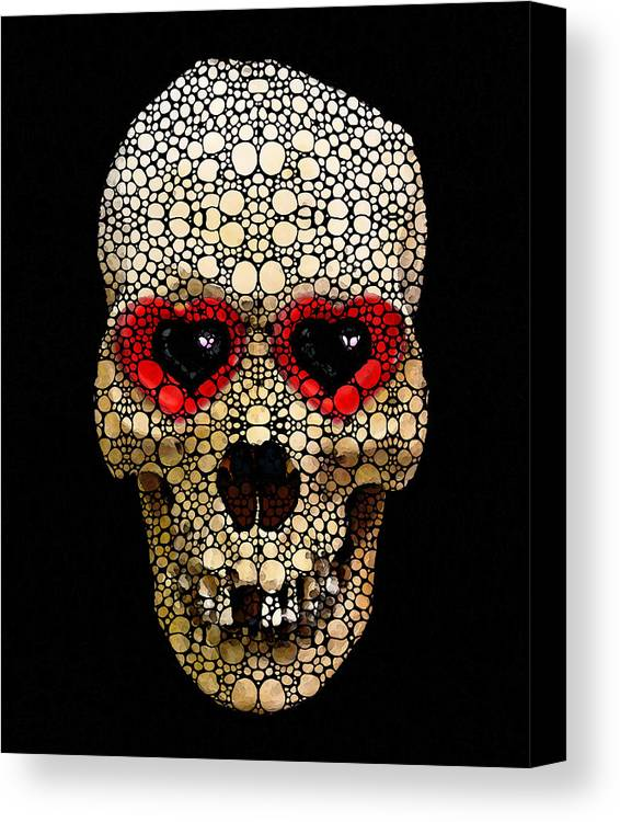 Skull Canvas Print featuring the painting Skull Art - Day Of The Dead 3 Stone Rock'd by Sharon Cummings