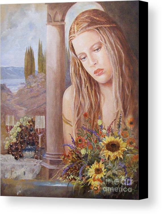 Portrait Canvas Print featuring the painting Summer Day by Sinisa Saratlic