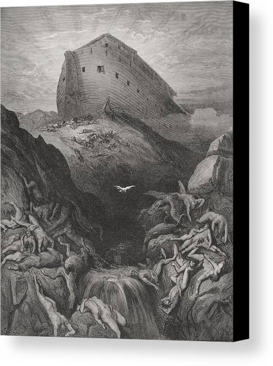 Noah's Canvas Print featuring the painting The Dove Sent Forth From The Ark by Gustave Dore
