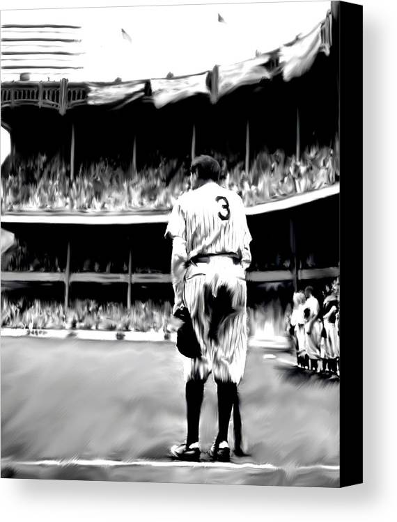 Babe Ruth Canvas Print featuring the painting The Greatest Of All Babe Ruth by Iconic Images Art Gallery David Pucciarelli