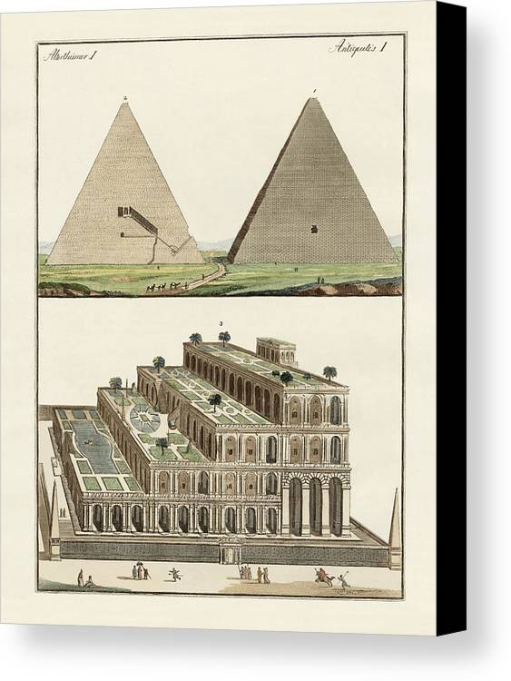 The Great Pyramid Of Giza Canvas Print featuring the drawing The Seven Wonders Of The World by Splendid Art Prints