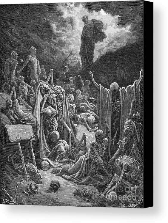 Prophet Canvas Print featuring the painting The Vision Of The Valley Of Dry Bones by Gustave Dore