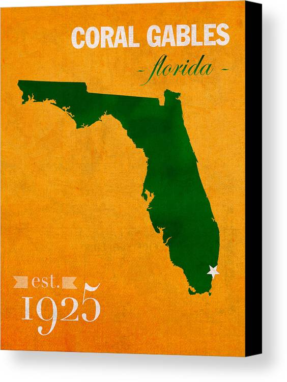 University Of Miami Canvas Print featuring the mixed media University Of Miami Hurricanes Coral Gables College Town Florida State Map Poster Series No 002 by Design Turnpike