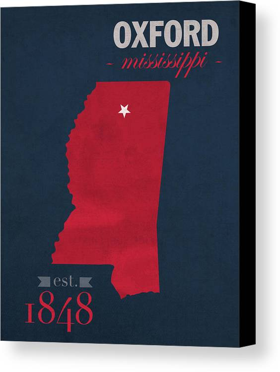 University Of Mississippi Ole Miss Rebels Oxford College Town - Us college map poster