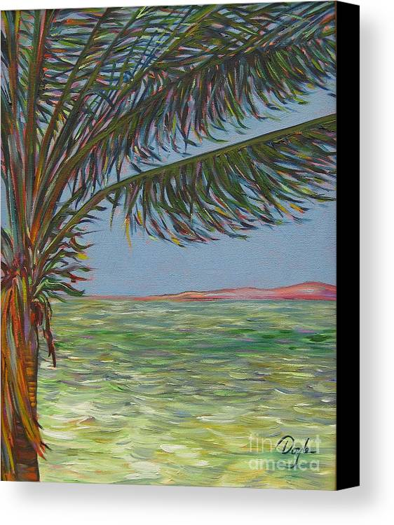 Ocean Canvas Print featuring the painting Veiled Horizon by Karen Doyle