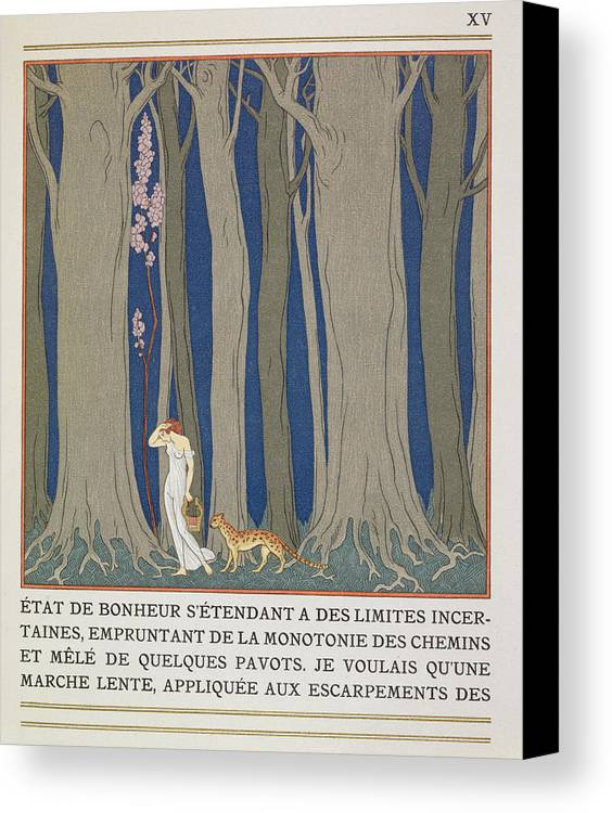 Forest Canvas Print featuring the painting Woman Followed By A Leopard by Georges Barbier
