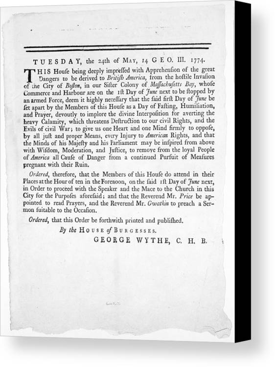 1774 Canvas Print featuring the photograph Wythe: Broadside, 1774 by Granger