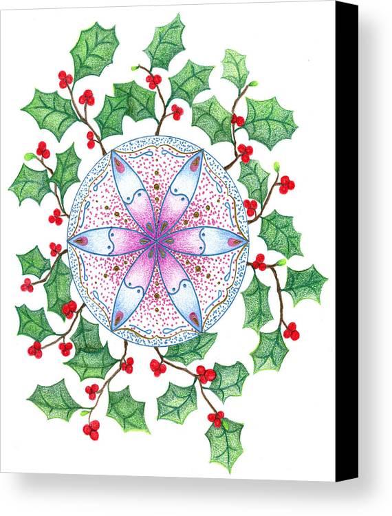 X'mas Wreath Canvas Print featuring the drawing X'mas Wreath by Keiko Katsuta