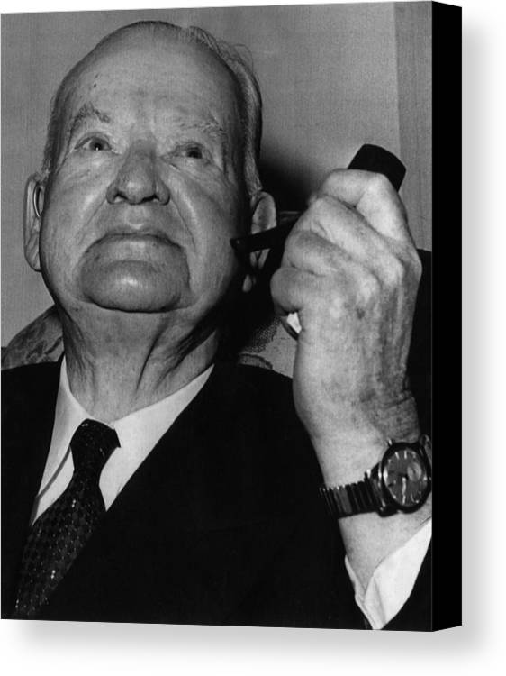 1950s Candids Canvas Print featuring the photograph Former President Herbert Hoover by Everett