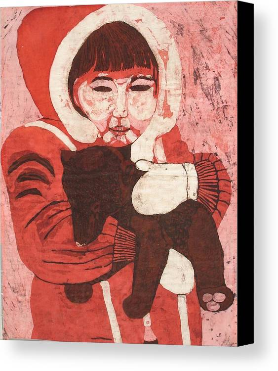 Fabric Canvas Print featuring the painting Batik -girl W Bear- by Lisa Kramer