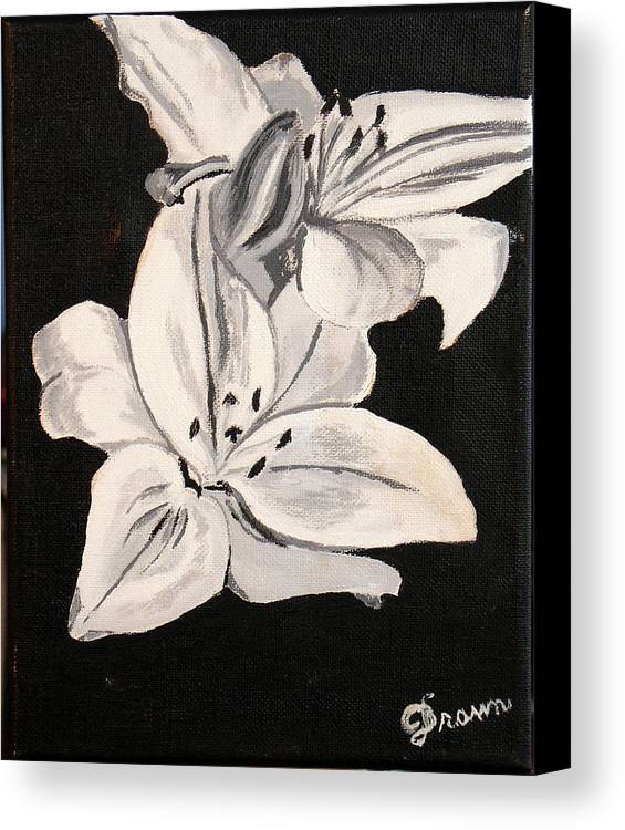 Black and white flower canvas print canvas art by burma brown black and white canvas print featuring the painting black and white flower by burma brown mightylinksfo