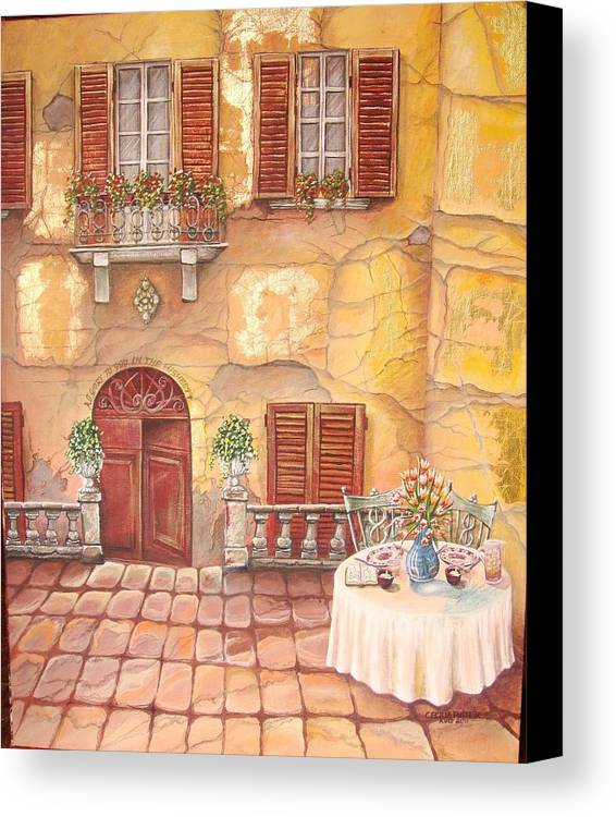 Inviting Lunch Table On A Stone Paved Sidewalk In Tuscany. Steps Leads Down To The Huge Solid Wooden Door Canvas Print featuring the painting Devoted by Cecilia Putter
