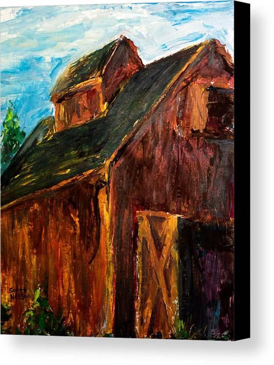 Farm Canvas Print featuring the painting Farm Barn by Scott Nelson
