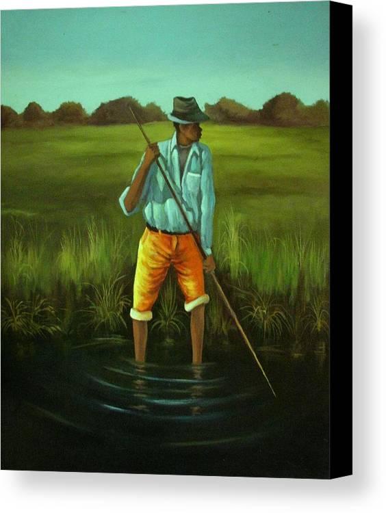 Canvas Print featuring the painting Fishing by Banda Sakanya