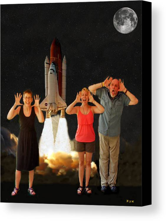 The Scream World Tour Space Shuttle Canvas Print featuring the mixed media Hoovler Family Scream by Eric Kempson