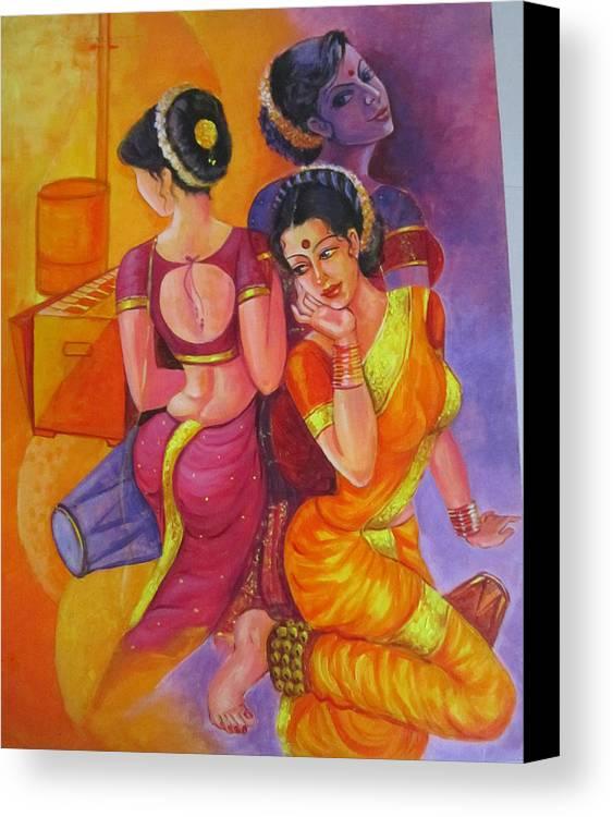 Lady Canvas Print featuring the painting Lavani -indian Folk Dance. by Mahesh Kshirsagar