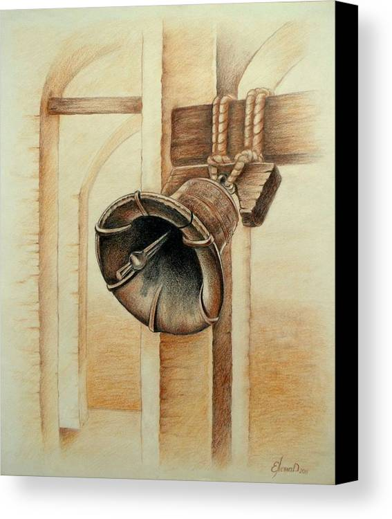 Bell Canvas Print featuring the drawing Liberty Bell by Lena Day