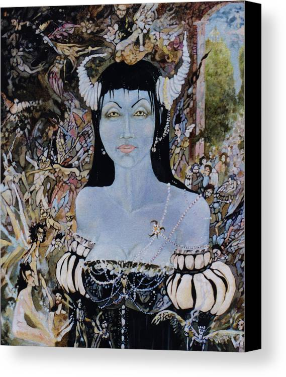 Canvas Print featuring the drawing Queen Mab 1 by Jackie Rock