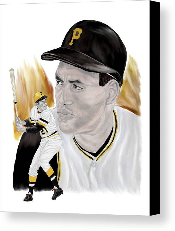 Roberto Clemente Canvas Print featuring the painting Roberto Clemente by Steve Ramer