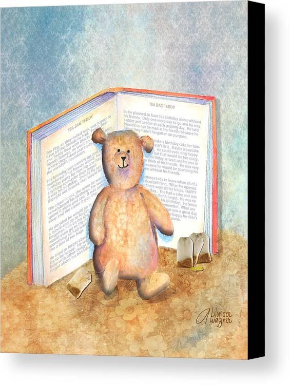 Teddy Bear Canvas Print featuring the mixed media Tea Bag Teddy by Arline Wagner