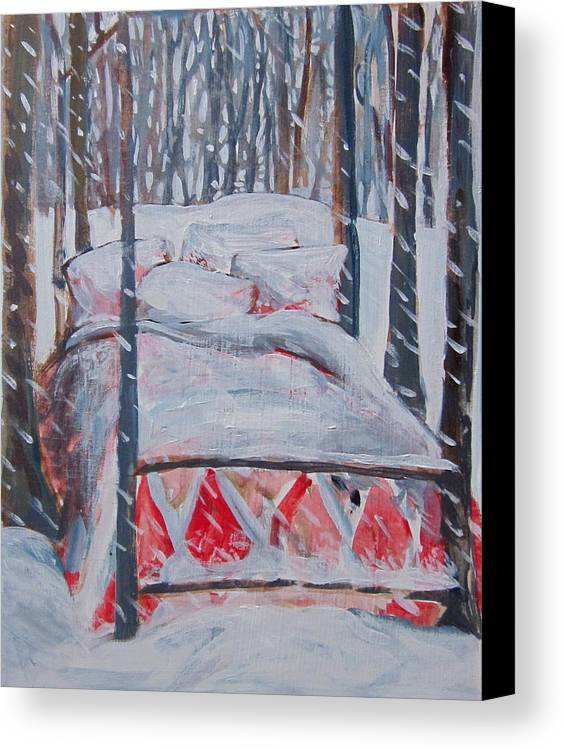Snow Canvas Print featuring the painting Winter Hybernation by Tilly Strauss