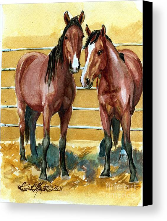 Mustang Canvas Print featuring the painting Pick Up Day by Linda L Martin