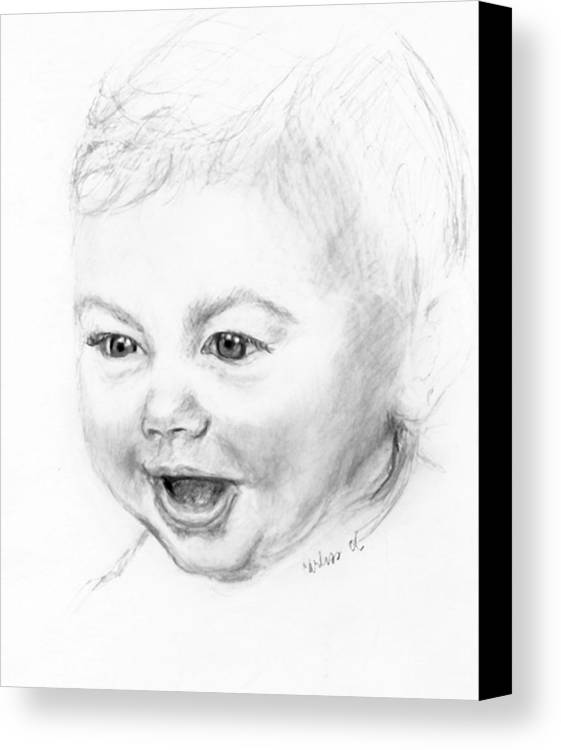 Baby Little Girl Baby Face Canvas Print featuring the print So Excited by Carliss Mora