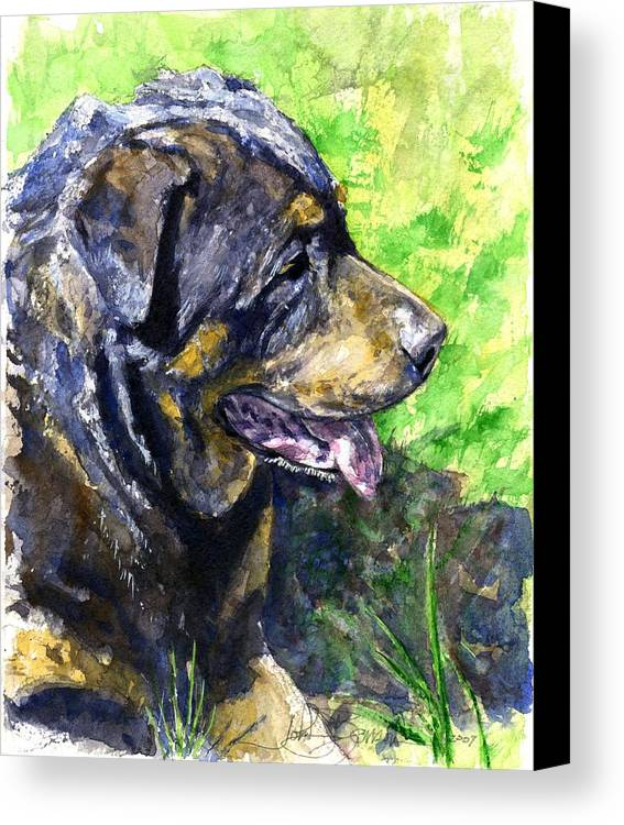 Rottweiler Canvas Print featuring the painting Chaos by John D Benson