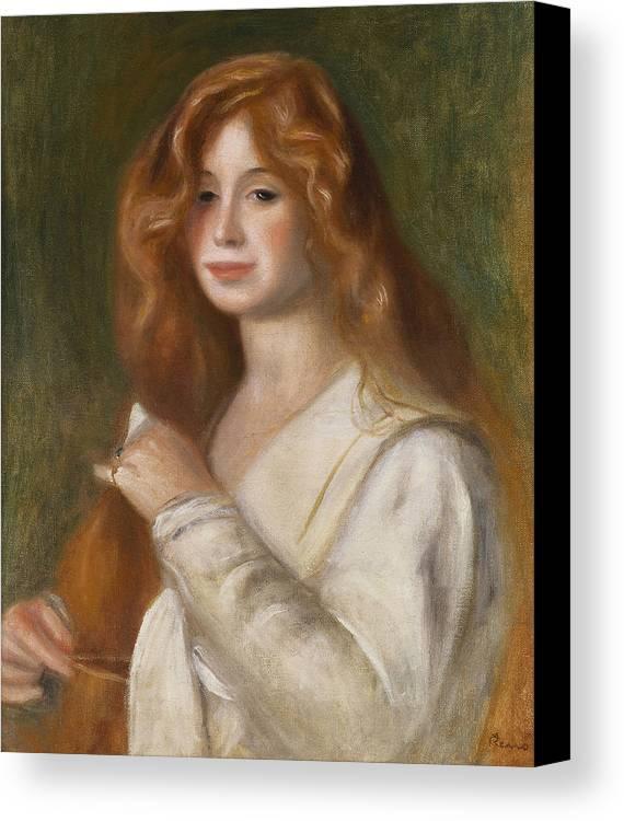 Pierre Auguste Renoir Canvas Print featuring the painting Girl Combing Her Hair by Pierre Auguste Renoir