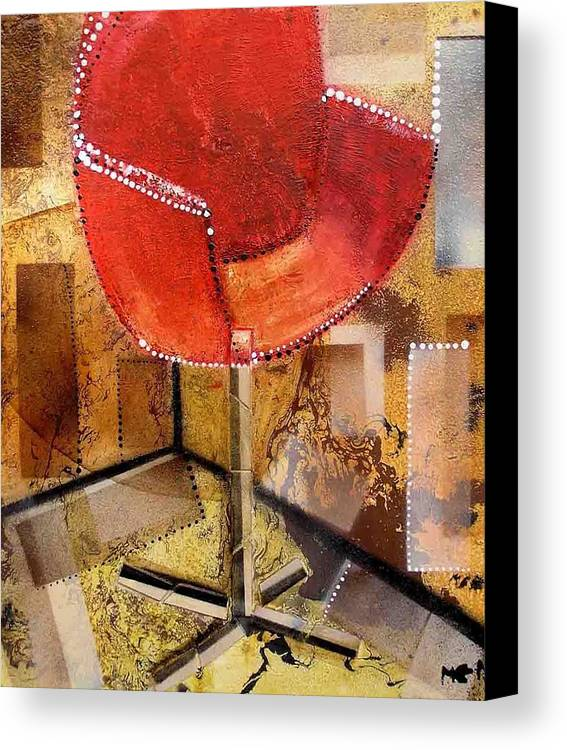 Canvas Print featuring the painting Red Chair by Evguenia Men