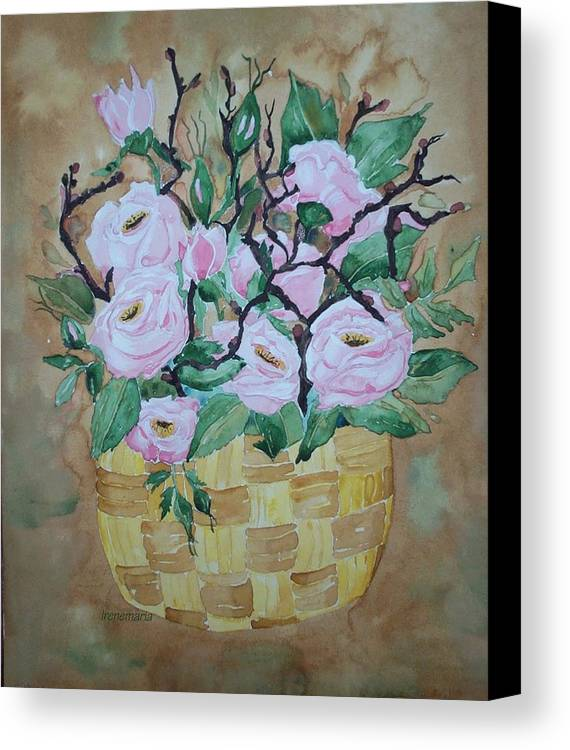 Roses Flowers Canvas Print featuring the painting Roses by Irenemaria Amoroso