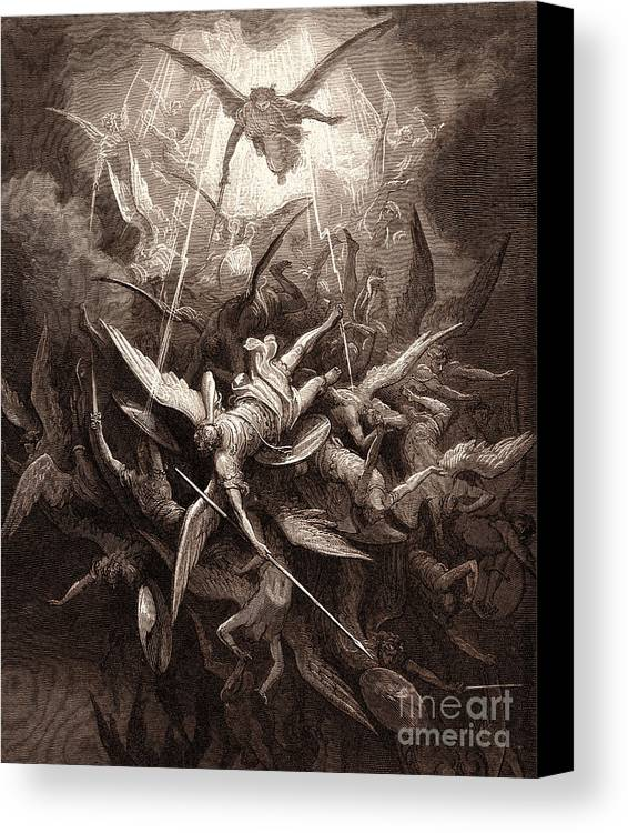 Gustave Dore Canvas Print featuring the drawing The Fall Of The Rebel Angels by Gustave Dore