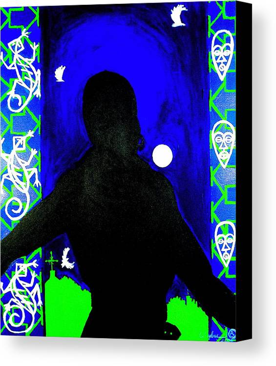 Malik Seneferu's Art Canvas Print featuring the painting Uhuru Series by Malik Seneferu