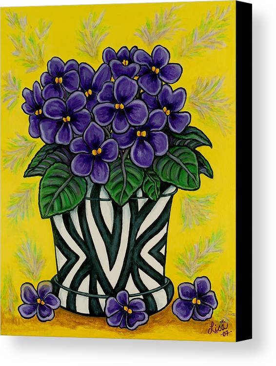 Violets Canvas Print featuring the painting African Queen by Lisa Lorenz