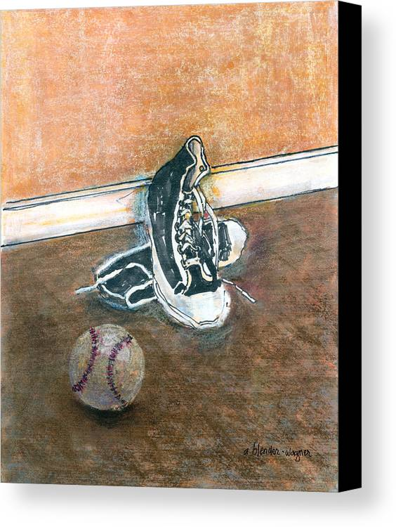 Tennis Shoes Canvas Print featuring the mixed media After The Game by Arline Wagner