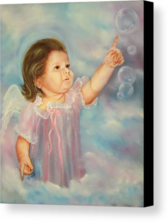 Angel Canvas Print featuring the painting Angel Baby by Joni McPherson