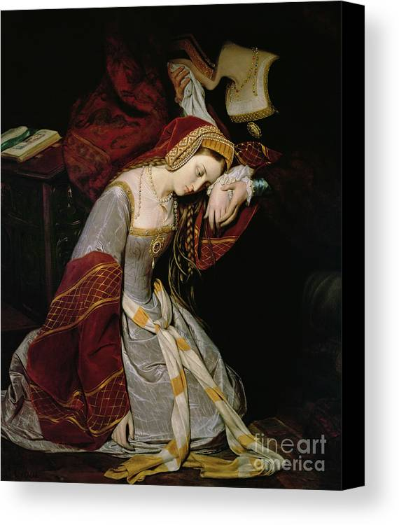 Anne Canvas Print featuring the painting Anne Boleyn In The Tower by Edouard Cibot
