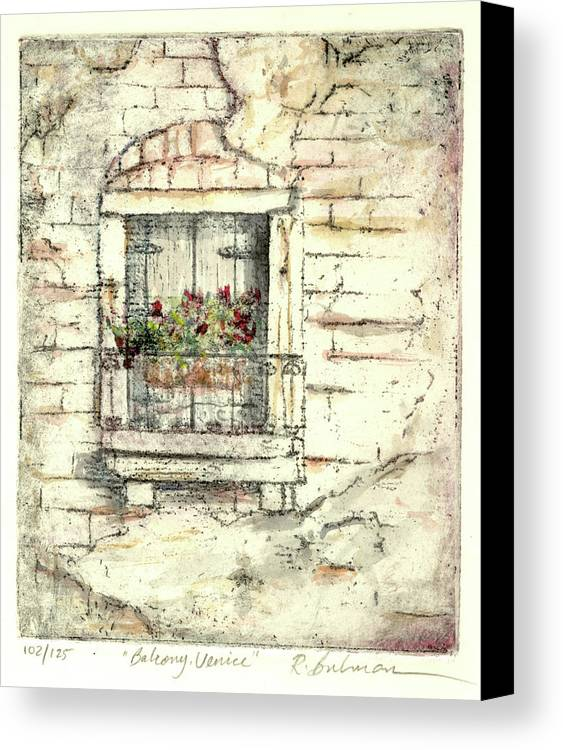 Venice Canvas Print featuring the painting Balcony Venice by Richard Bulman