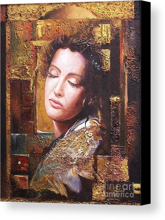 Female Portrait Canvas Print featuring the painting Because You Are Beautiful by Sinisa Saratlic